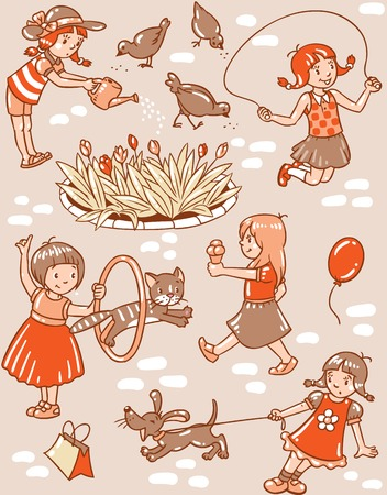 eating ice cream: Seamless pattern or picture set of small girls playing in the yard with cats and dogs, watering flowers, jumping and eating ice cream
