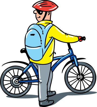 glases: Cyclist with a bike. Children vector illustration.