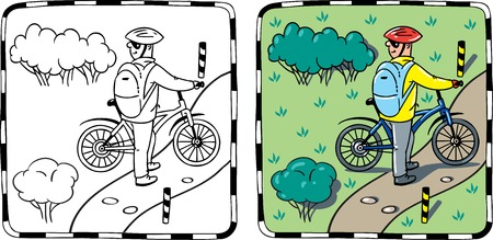 glases: Coloring book or coloring picture of cyclist with a bike. Children vector illustration.