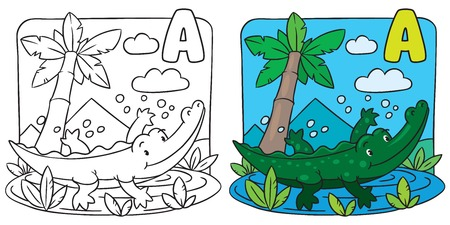 Little crocodile coloring book. Alphabet A Vector