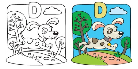 Coloring book of little funny dog. Alphabet D Vector