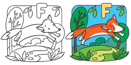 Little red fox coloring book. Alphabet F Illusztráció