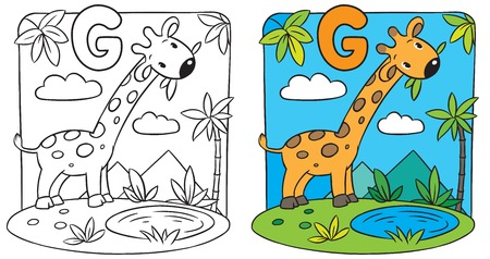 g giraffe: Coloring book of giraffe. Alphabet G Illustration