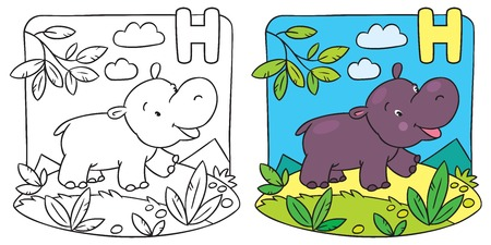 Little hippo coloring book. Alphabet H Vector