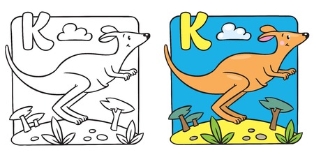 Little kangaroo coloring book. Alphabet K Vector