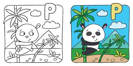 Little panda coloring book. Alphabet P Vector