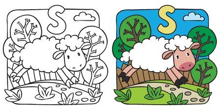 Little sheep coloring book. Alphabet S Vector