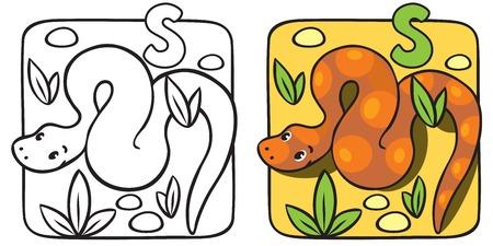 Little snake coloring book. Alphabet S Vector