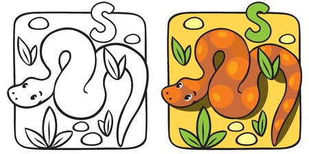 constrictor: Little snake coloring book. Alphabet S