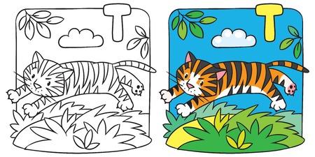 Little tiger coloring book. Alphabet T Vector