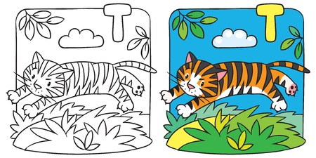 sand asia: Little tiger coloring book. Alphabet T
