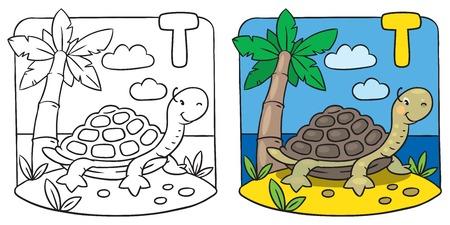Little turtle coloring book. Alphabet T Vector