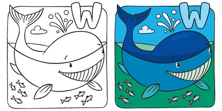 Little whale coloring book. Alphabet W Vector