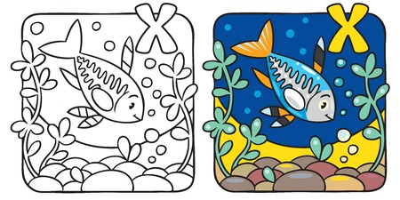 X-ray fish coloring book. Alphabet X Vector