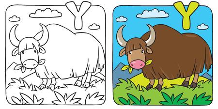 yak: Funny wild yak coloring book. Alphabet Y