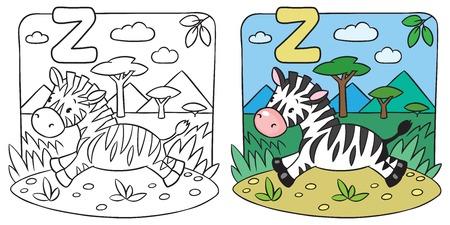 Little Zebra coloring book. Alphabet Z Vector