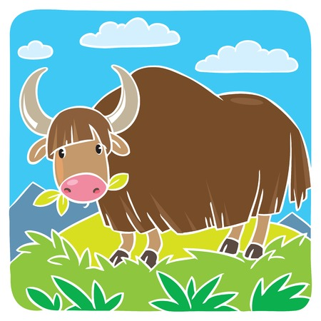 Children vector illustration of funny grazing wild yak. Greeting card.