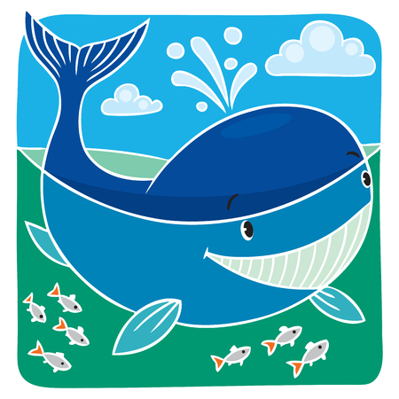 Children vector illustration of funny little whale in the sea. Vector