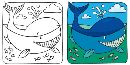 Coloring picture of funny little whale in the sea. Vector