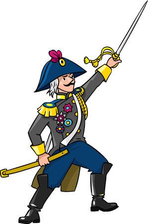 cocked hat: Brave general or officer with sword Illustration