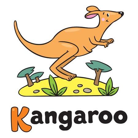 Little kangaroo, illustration for ABC. Alphabet K Vector