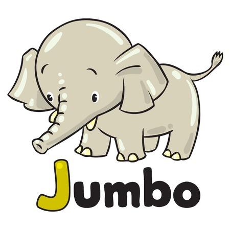 jumbo: Children vector illustration of little funny elephant or jumbo. Alphabet J