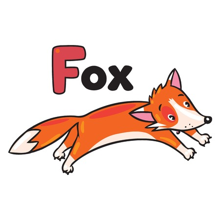 Children vector illustration of little funny jumping fox. Alphabet F