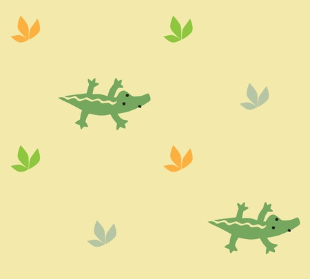 inconspicuous: Seamless pattern with funny crocodiles and plants. Children vector illustration