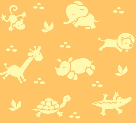 bush babies: Seamless pattern with funny running african animals in savannah. Children vector illustration