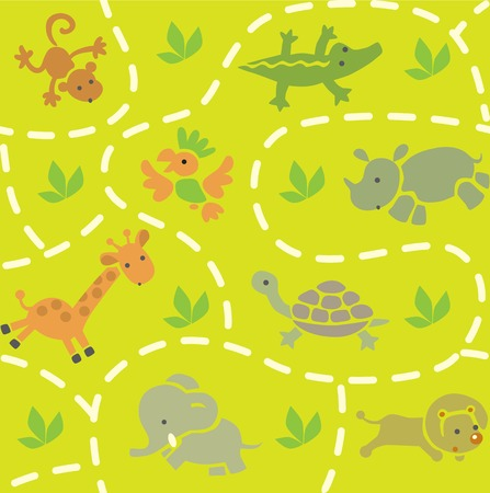 discreet: Seamless pattern with funny running african animals in savannah. Children vector illustration
