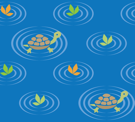 swiming: Seamless pattern with funny swiming turtles and plants. Children vector illustration