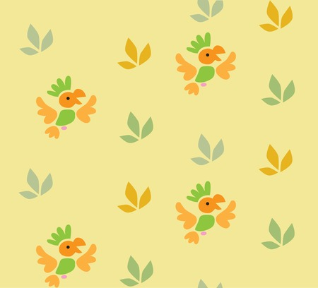 inconspicuous: Seamless pattern with funny parrots and plants. Children vector illustration