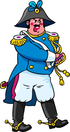 epaulettes: Children vector illustration of angry general or officer who pulls his sword from its sheath Illustration