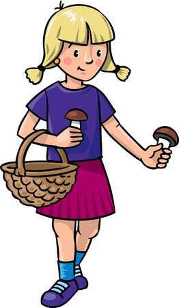 Children vector illustration of little girl picking mushrooms with basket
