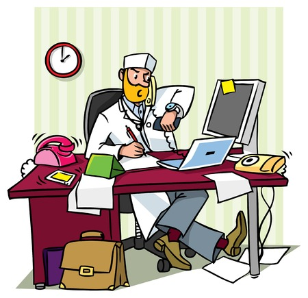 puzzlement: Busy chief doctor in a office  at the table writing, talking on the phone, looks at his watch Illustration