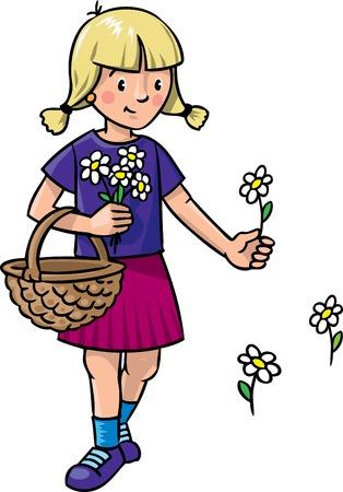 petticoat: Children vector illustration of little girl picking flowers with basket Illustration