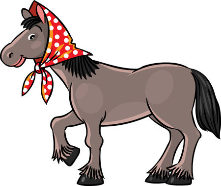 headscarf: Children vector illustration of funny horse in headscarf