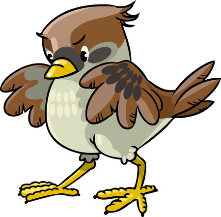 Children vector illustration of young brave sparrow