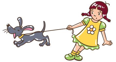 leash: Children vector illustration of girl holding the leash barking dog or puppy