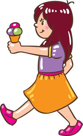 pale cream: Children vector illustration of small girl with ice cream