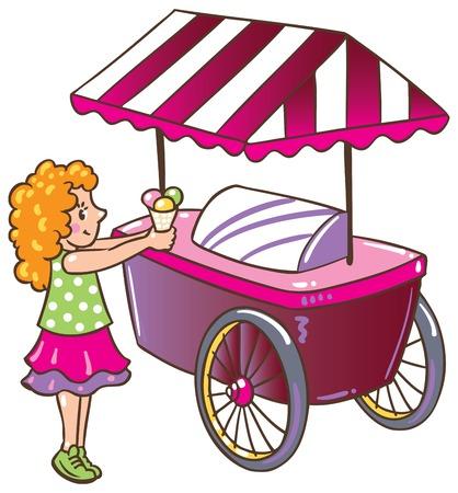 pale cream: Children vector illustration of small girl with ice cream near the ice-cream truck Illustration