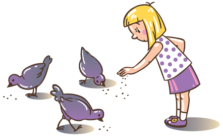 solicitude: Children vector illustration of girl feeding pigeons in the yard Illustration