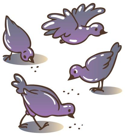 peck: Children vector illustration of pigeons peck feed