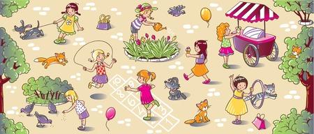 고양이와 개, 꽃에 물을 점프와 아이스크림을 먹고 함께 마당에서 놀고 작은 소녀의 집합 큰 원활한 패턴 또는 그림