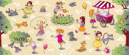 Big seamless pattern or picture set of small girls playing in the yard with cats and dogs, watering flowers, jumping and eating ice cream Vettoriali