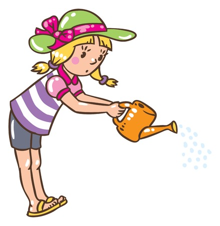 solicitude: Children vector illustration in vintage colors of girl watering the flowers