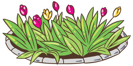 curb: Children vector illustration of bed of beautyful flowers Illustration
