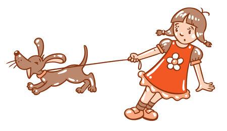 yelp: Children vector illustration in vintage colors of girl holding the leash barking dog or puppy Illustration