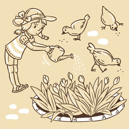 flowerbed: Children vector illustration in vintage colors of girl watering the flowers in the flowerbed Illustration