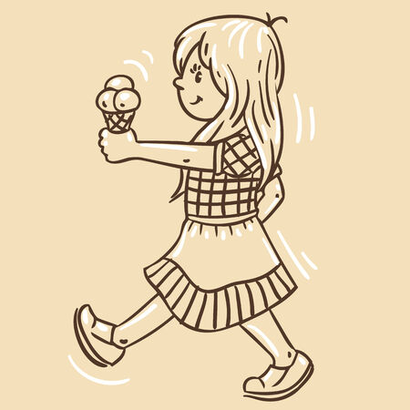 pale cream: Children vector illustration in vintage colors of small girl with ice cream